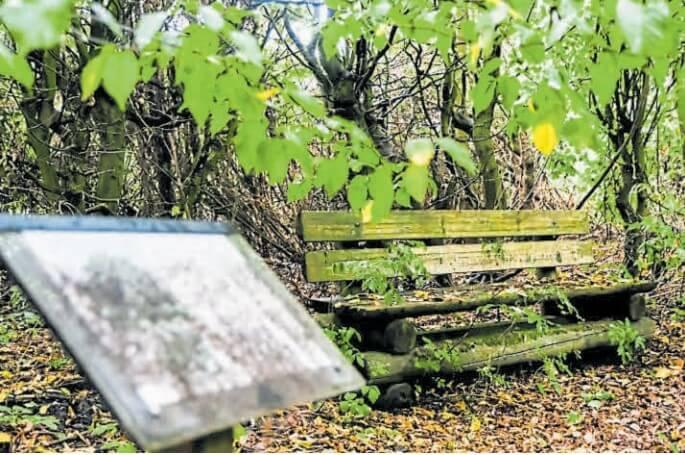 Kein guter Ort zum Ausruhen: Verrottete Bänke und verblichene Informationstafeln im Park. Bild: Eric Hasseler